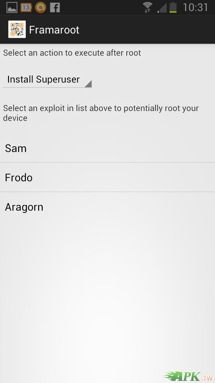 按一下三角型選擇你要安裝的檔案,在按Aragorn,完成後重啟手機