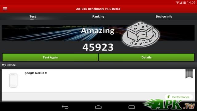Nexus 9 AnTuTu 截圖曝光,Tegra K1 跑分輕鬆突破 45,000