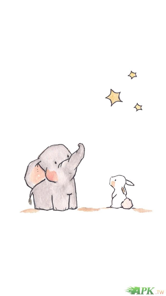 桌布-可爱小灰象与小白兔