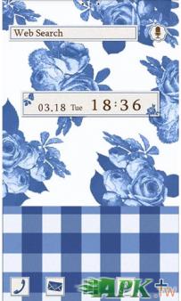 [+]HOME付費主題(台灣)-藍色方格玫瑰(2.1↑@1.9M@apk)